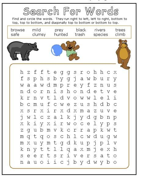 Image result for bear word search