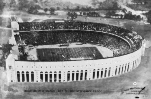 """Aerial view of the Ohio Stadium (also known as the """"Horseshoe"""" or the """"Shoe"""" because of its unique horseshoe shape) on the campus of The Ohio State University, taken on October 21, 1922."""