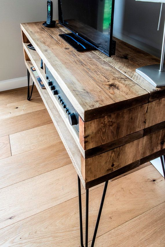 Rustic Solid Wood TV Stand with 2 Prong 30cm by BareWoodInteriors