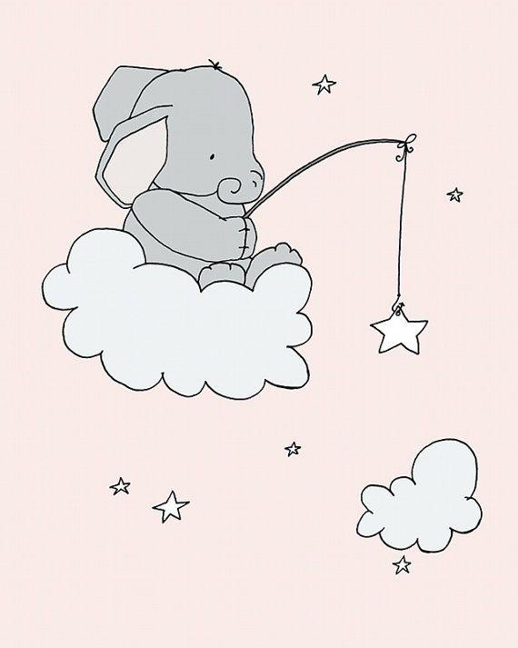 Elephant Nursery Art Pink and Gray Nursery por SweetMelodyDesigns
