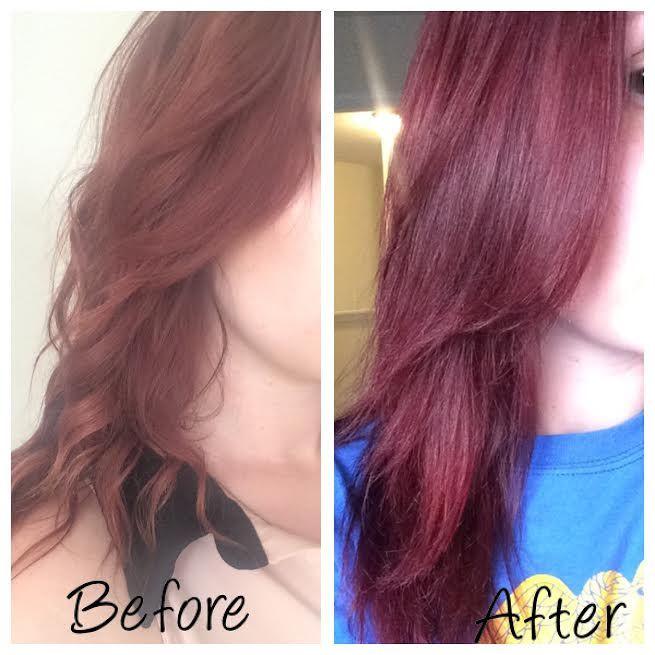 Before and After! #Schwarzkopf Mahogany Red 4.2 #hair #haircolor #diy #redhair #schwarzkopf4.2