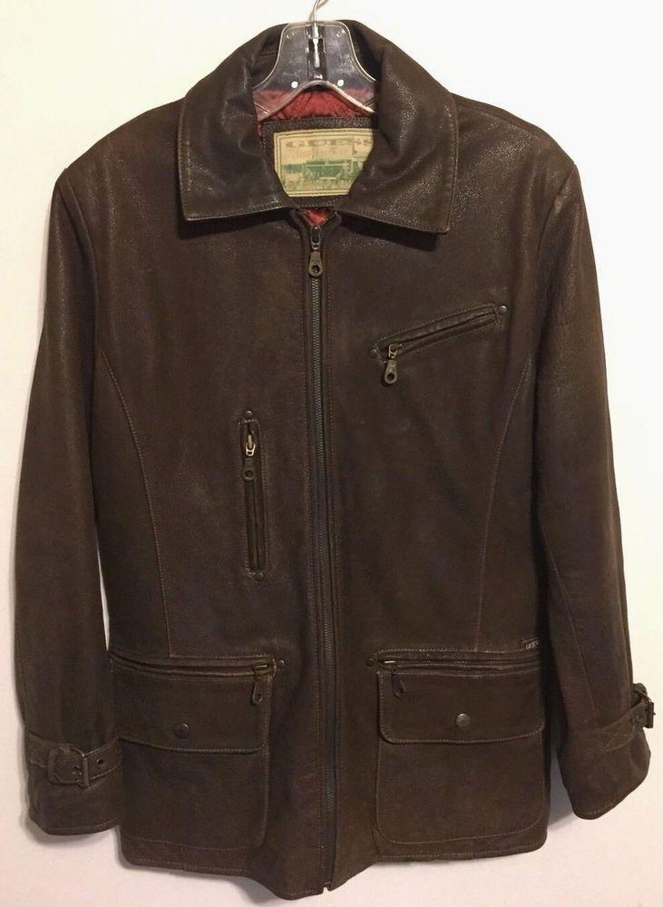 Vtg Guess Womens Brown Lined Bomber Moto Leather Jacket Medium M  | eBay