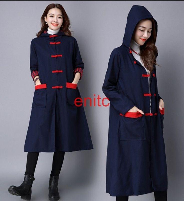 Fall Winter Retro Cotton Linen Hooded Womens Parka Coat Cardigan Outwear