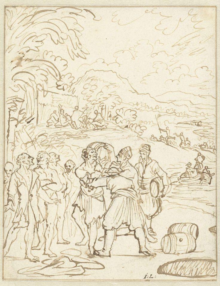 Jan Luyken   Matrozen en inboorlingen, Jan Luyken, 1696 - 1698   Matrozen proberen inboorlingen over te halen hun bagage te dragen in ruil voor oude kleding. Ontwerp voor een prent.