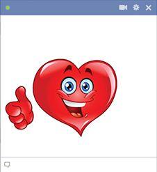 Coração que mantêm os polegares