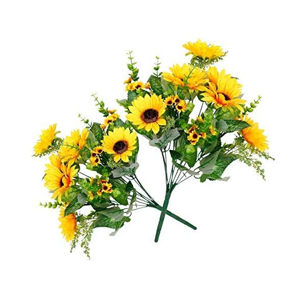 Tifuly Artificial Flowers Fake Sunflowers Bouquet 2 Bunches Pack Silk Flowers Bridal Wedding Bouquet Yellow Flower Arrangements Home Hotel Office Indoor Garden In 2020 Artificial Flowers Yellow Wedding Bouquet Yellow Flower Arrangements