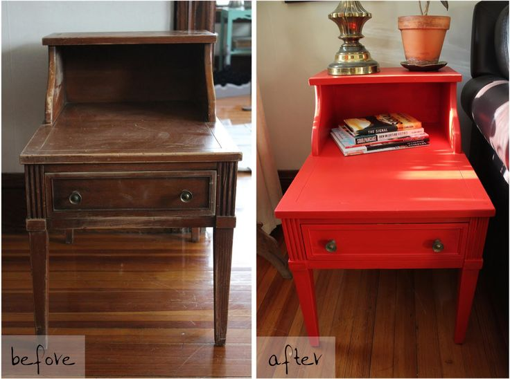 Not so cute end table becomes super cute red end table