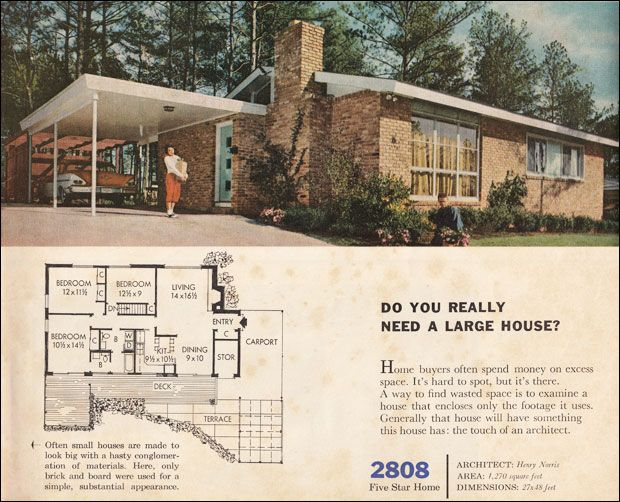 1960 Better Homes U0026 Gardens Five Star Homes, Design No. 2808. This Small