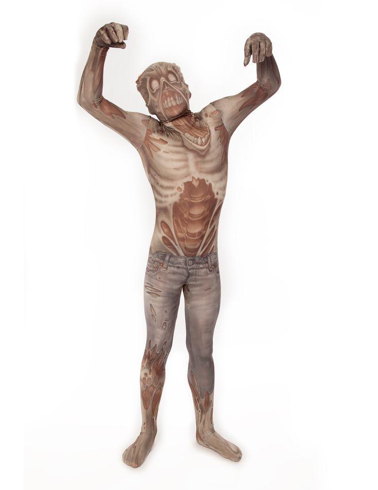Disfraz de zombie niño Morphsuits™: Este disfraz de segunda piel de zombie niño es de la marcaMorphsuits™.Es un traje elástico con tejido de calidad que cubre todo el cuerpo.El traje es del cuerpo de un zombie...