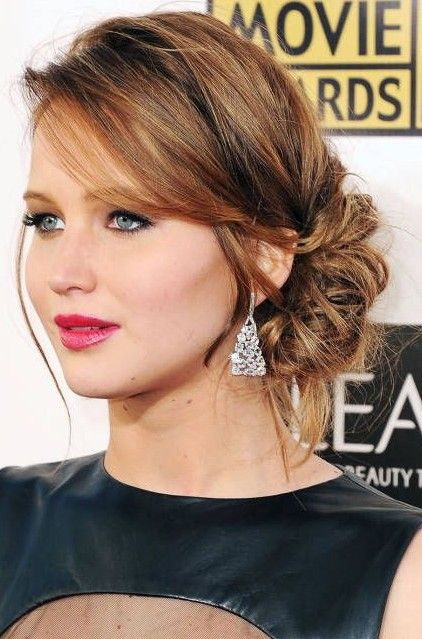 Jennifer Lawrence Low Chignon Updo