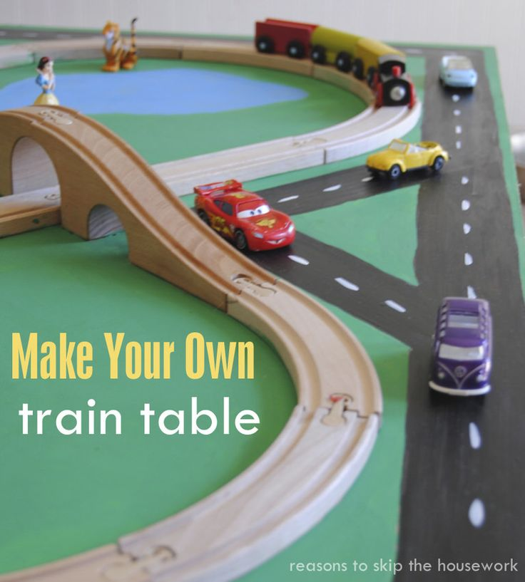 Make your own train table using materials you already have on hand! {other than the train track!} Transform a piece of wood with paint and some imagination!