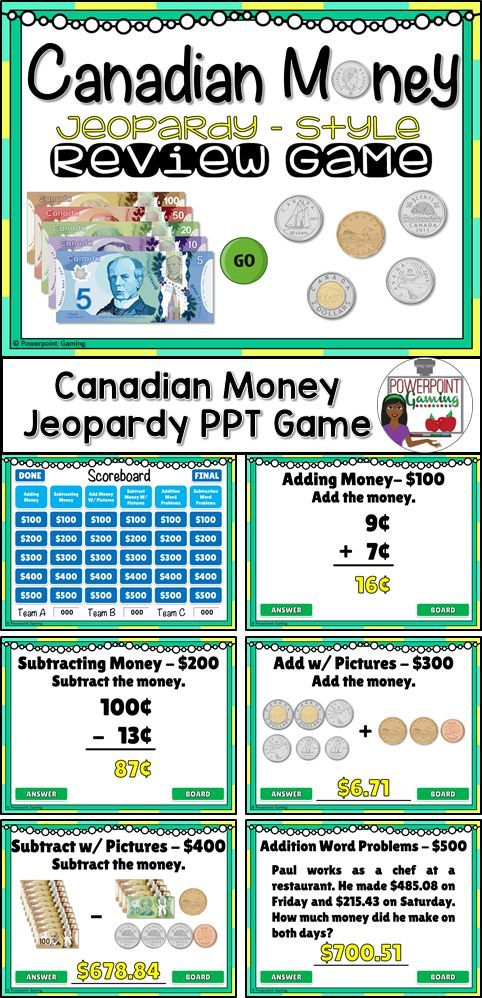 Engage grade 4 and 5 students with this fun, interactive money game. In this jeopardy powerpoint game, students answer questions about Canadian money. This includes addition and subtraction as well as word problems. Realistic coins (1¢, 5¢,10¢, 25¢, $1, $2) and bills ($5, $10, $20, $50, $100) make for a great end of unit review.