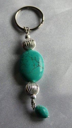 Turquoise Blue Green & Silver Gemstone Keychain | 123gemstones - Accessories on ArtFire