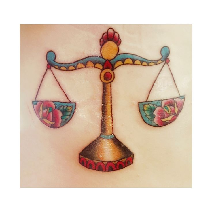 Libra tattoo- balance, scales of justice, traditional, old school, zodiac