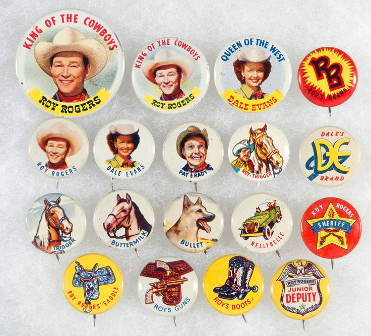 Hake's - ROY ROGERS COMPLETE 1953 BUTTON SET & POST TOASTIES CEREAL BOX WRAPPER.