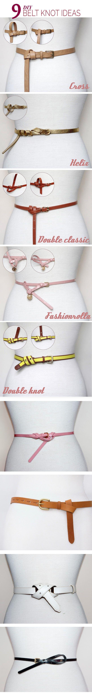 9 DIY Belt Knot Ideas  #DIY #Belt #Knot http://diymakeit.com/9-diy-belt-knot-ideas/