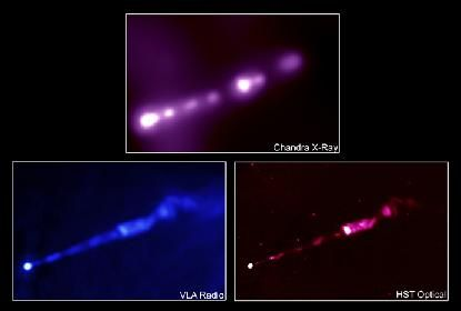 M87's jet, comparison of X-ray with HST optical and NRAO radio image.