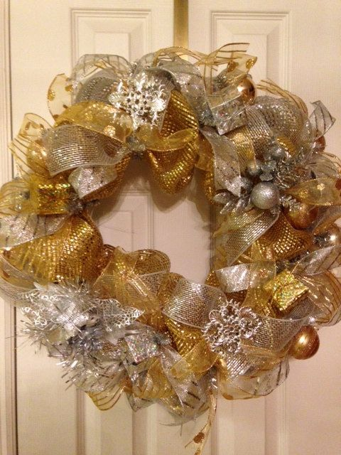 for sale silver and gold mesh wreath on etsy pinksugarplumcottage christmas wreaths. Black Bedroom Furniture Sets. Home Design Ideas