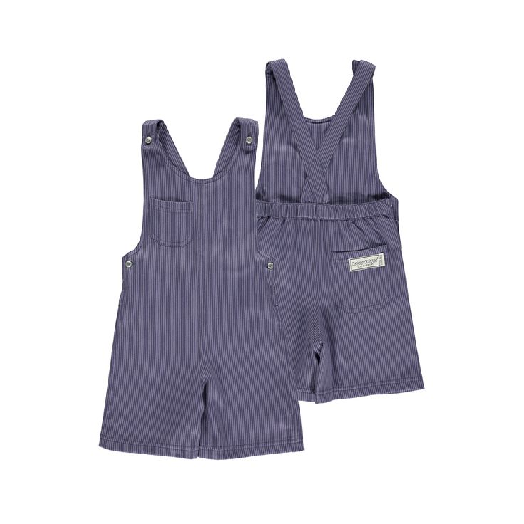 Okker-Gokker organic GOTS certified, made in India, 100% Organic Cotton.  Soft woven twill, purple suit overalls, silver coloured metal buttons, adjustable straps, pocket on top right chest & right bottom back with elasticised back.  $67.95 http://www.danskkids.com.au/collections/spring-summer-2015/products/okker-gokker-purple-striped-suit-overalls