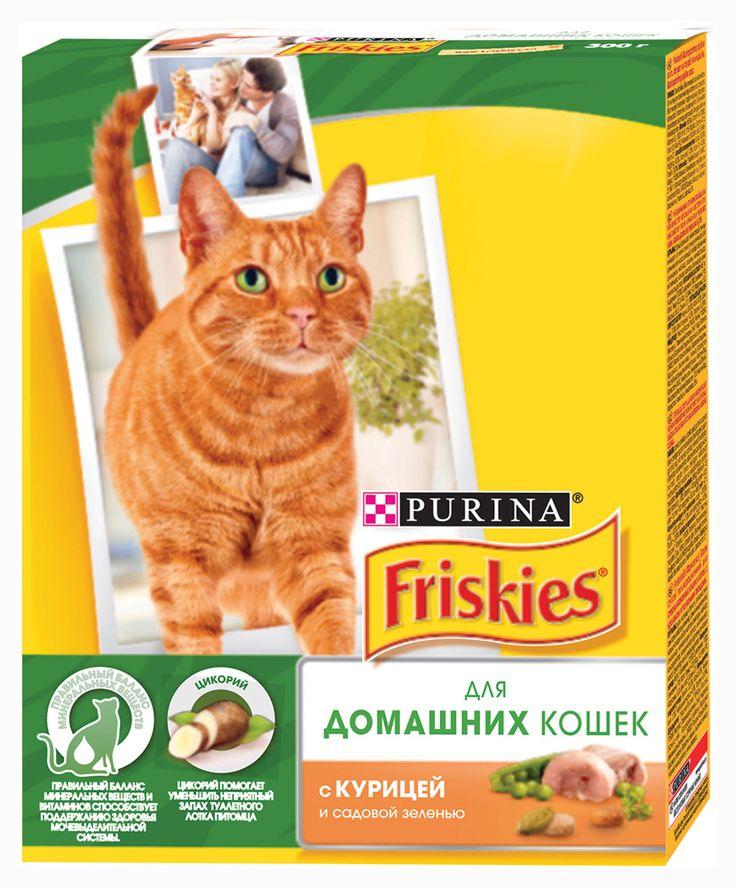 Корм для домашних кошек Friskies с курицей и садовой зеленью, 300 г