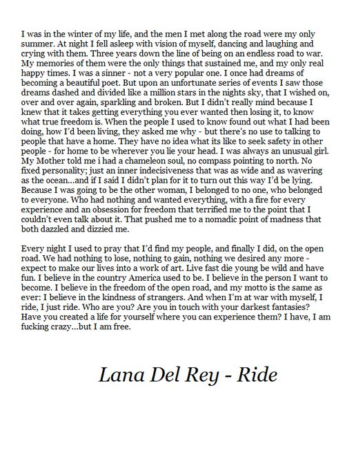 lana del rey ride lyrics - photo #3