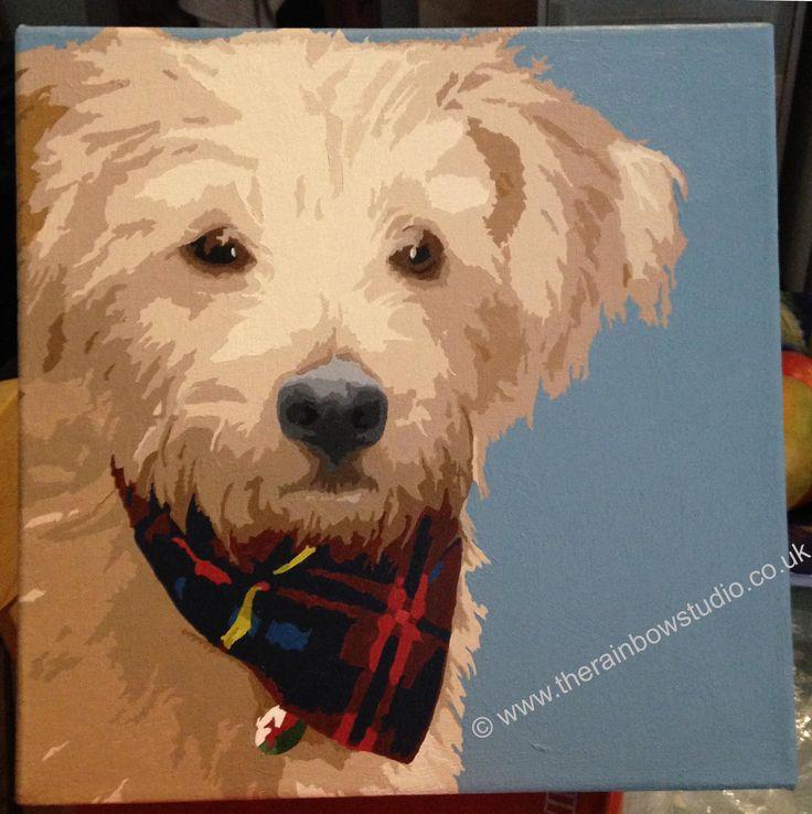 "Stanley pet portrait, by Emma Giles. Acrylic on canvas 12""x12"" www.therainbowstudio.co.uk"
