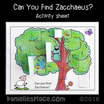 Can you find Zacchaeus? Coloring and Activity Sheet from www.daniellesplace.com
