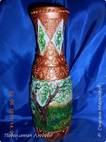 Декор предметов Рисование и живопись Роспись Ваза из стеклянной бутылки Бутылки стеклянные Гипс Краска фото 1