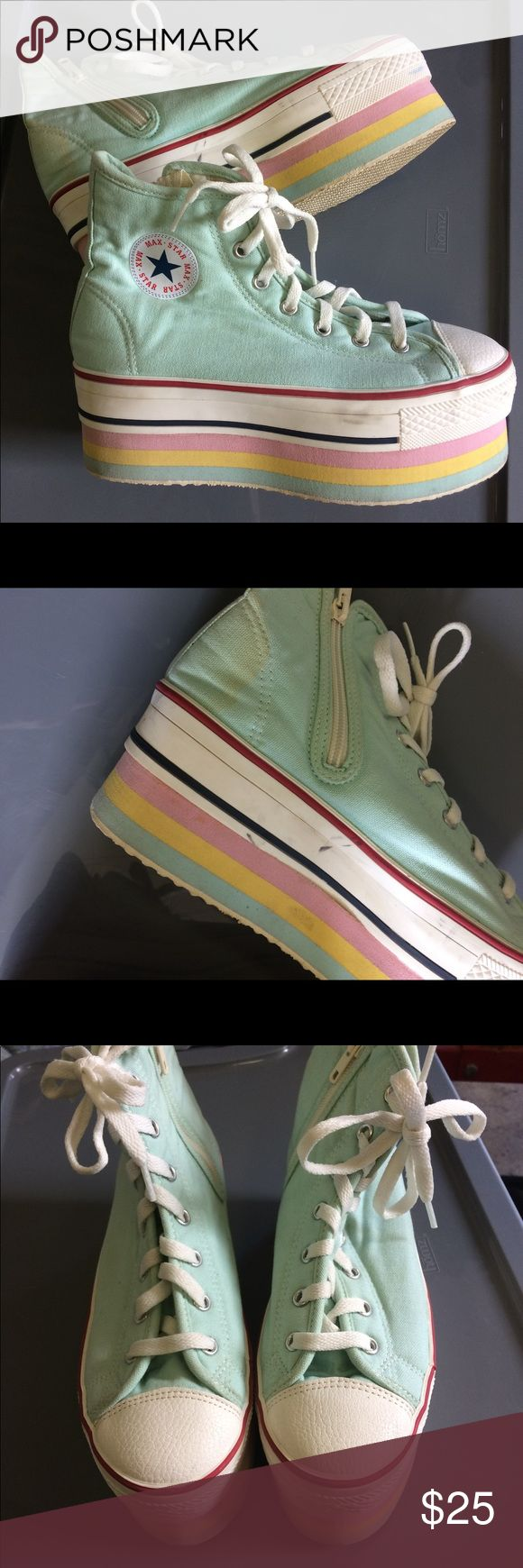 Platform converse sneakers Platform converse lookalikes:) Mint ice cream color and pastel striped platforms:) slight scuffing and stains but it can probably come out I just don't know how to clean these shoes. Fits 8-8.5 Shoes Sneakers