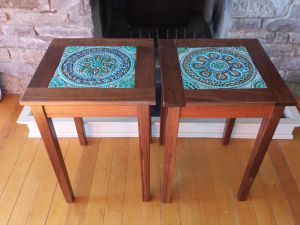Walnut and Lacewood Tile Tables by 8th Line Creations