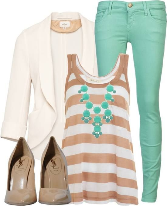 Turquoise, beige