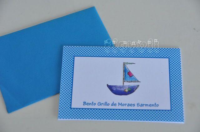 Cartão Barquinho  :: flavoli.net - Papelaria Personalizada :: Contato: (21) 98-836-0113 vendas@flavoli.net