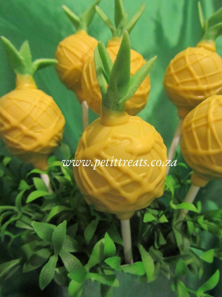 Hawaiian Themed Cake Pops - Pineapples