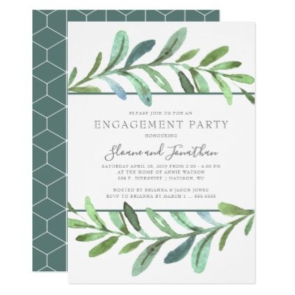 Modern Vines Botanical Engagement Party Invitation - invitations custom unique diy personalize occasions