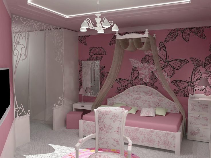 Fascinating girls bedroom decoration with pink butterfly for Fancy wallpaper for bedroom