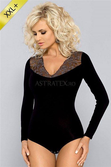 Un body lux extrem de feminin. Creatia se potriveste impecabila cu o rochie neagra.