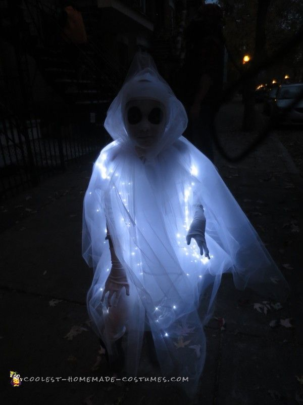 Glowing Ghost Costume for a Child: 8 layers of Tutu fabric and a set of LED lights. Cut the tutu in squares, attached the LED lights on one of the layers. The cost was about $65 = LEDs are quite expensive.