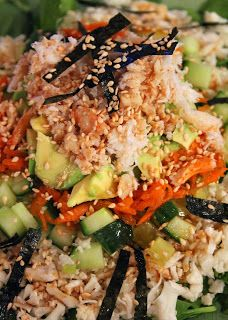 California Roll Sushi Salad With Wasabi Soy Sauce Dressing