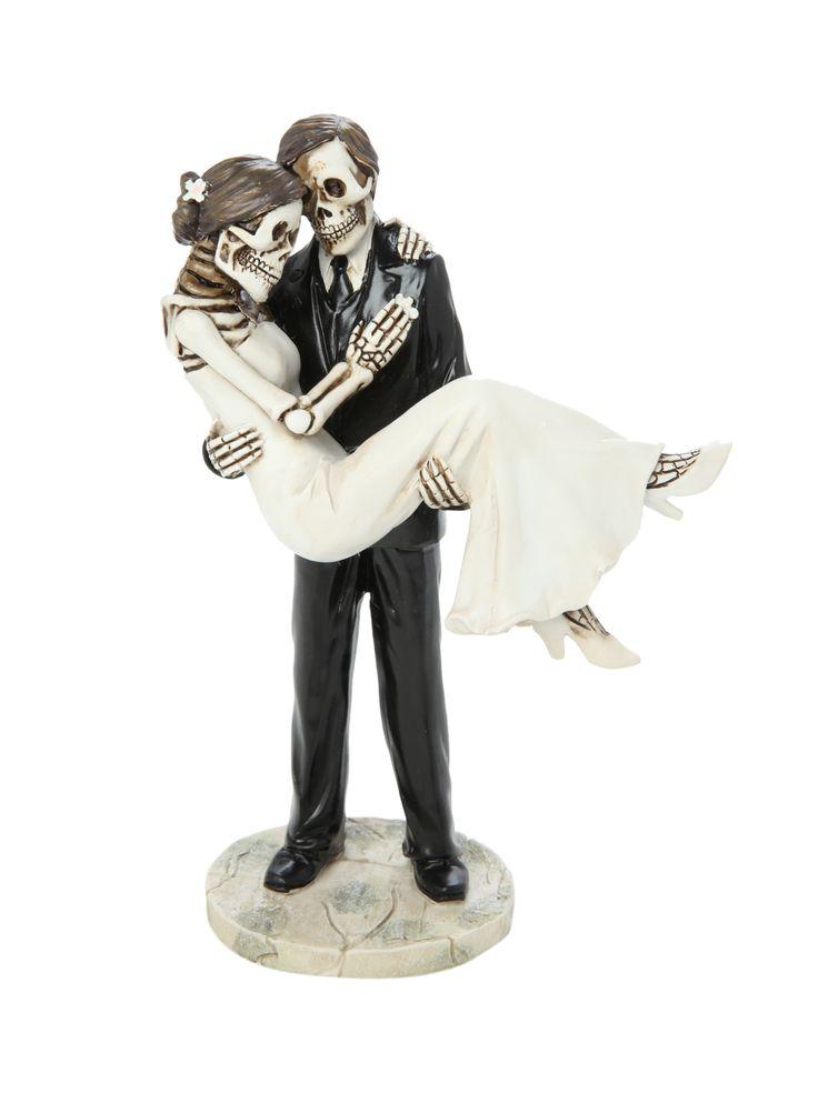 Skeleton Groom Carrying Bride Couple Figure For Dia De Los Muertos Wedding