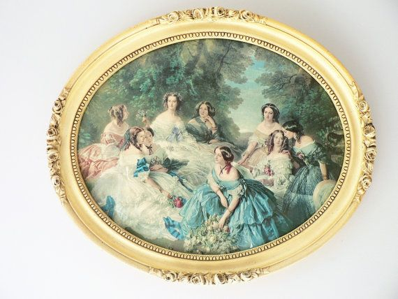 Vintage Victorian Ladies Lithograph Print in a Cream Oval