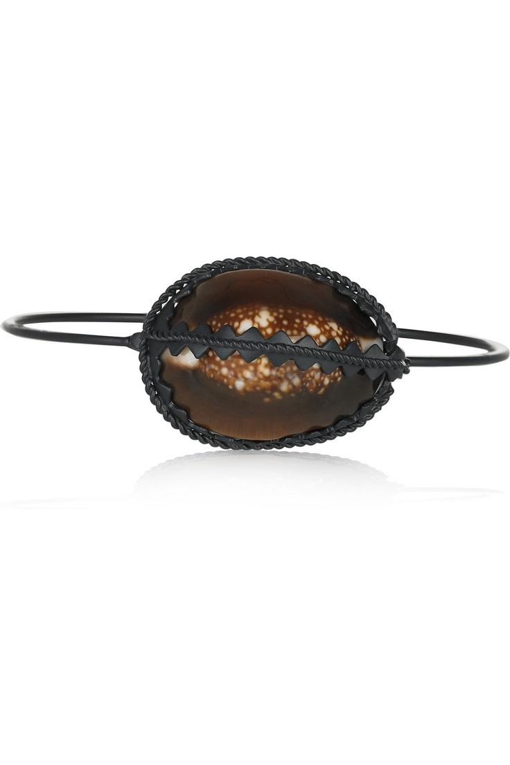 Bottega VenetaRuthenium-plated silver shell bracelet