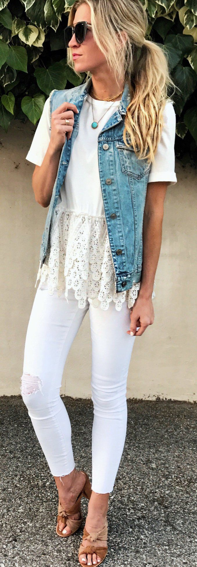 #summer #outfits Denim Vest + White Crochet Top + Ripped Skinny Jeans