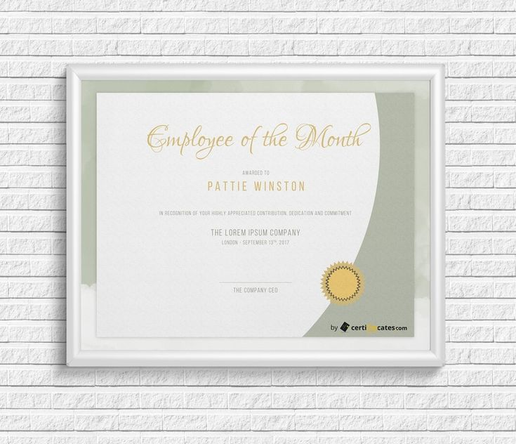 Employee of the month certificate editable with MS Word #word #certificate #template