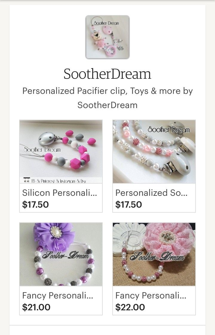 Personalized and Custom Pacifier Clip, baby toys, teether, nursing necklaces, bandana bibs, bunny ears, key chain, and much more from Soother Dream @ www.Facebook.com/sootherdream Www.etsy.com/shop/sootherdream also on Instagram!