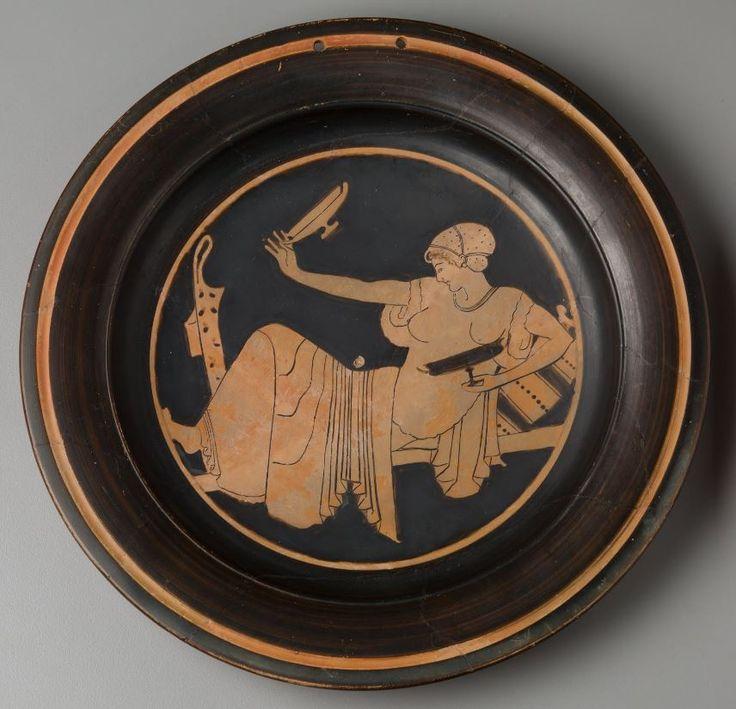 Plate: Woman Playing Kottabos 480 BCE. Vari (Attica). | Harvard Art Museums