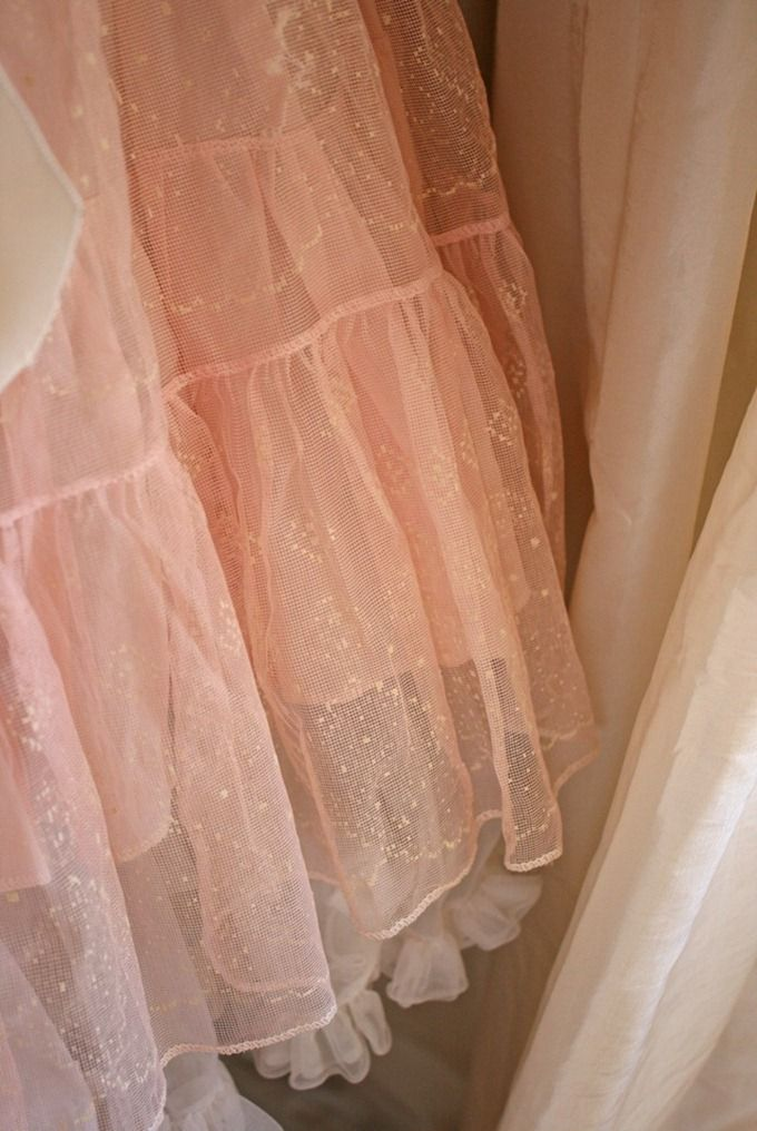 Lovely, Pink Crinoline Layered over White, Love the tiny Ruffle at the Bottom~❥
