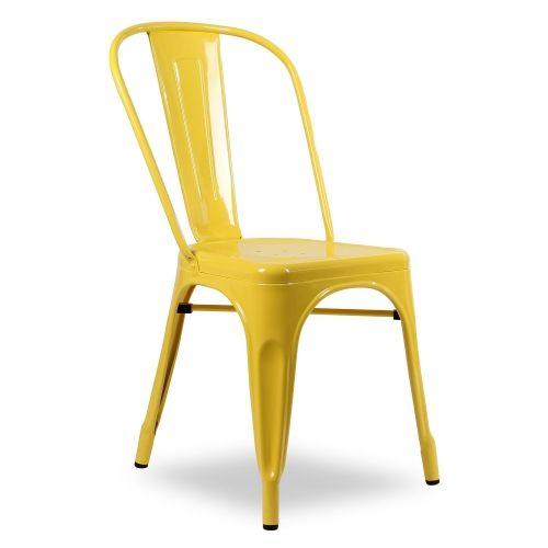 silla estilo industrial color amarillo