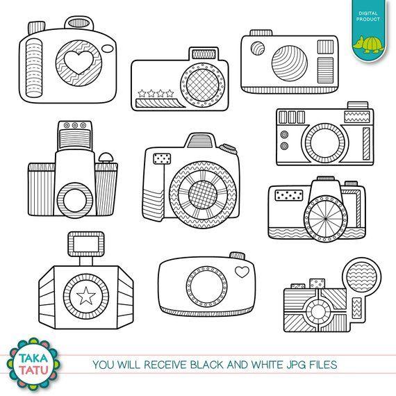 Camera Doodles Digital Stamp Pack Black And White Clipart Etsy Camera Doodles Digital Stamps Camera Clip Art