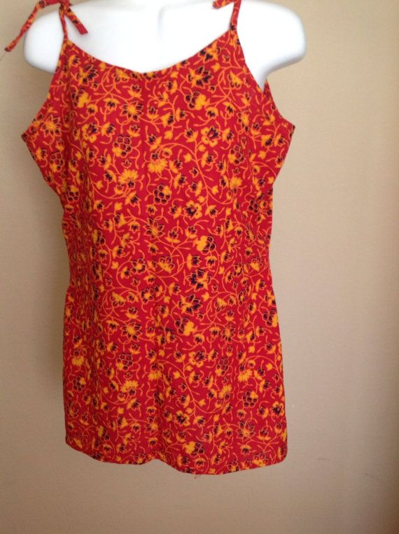 Womens 100 Cotton Spaghetti Red Shirt Blouse Tunic Top by Artsiart, $18.99