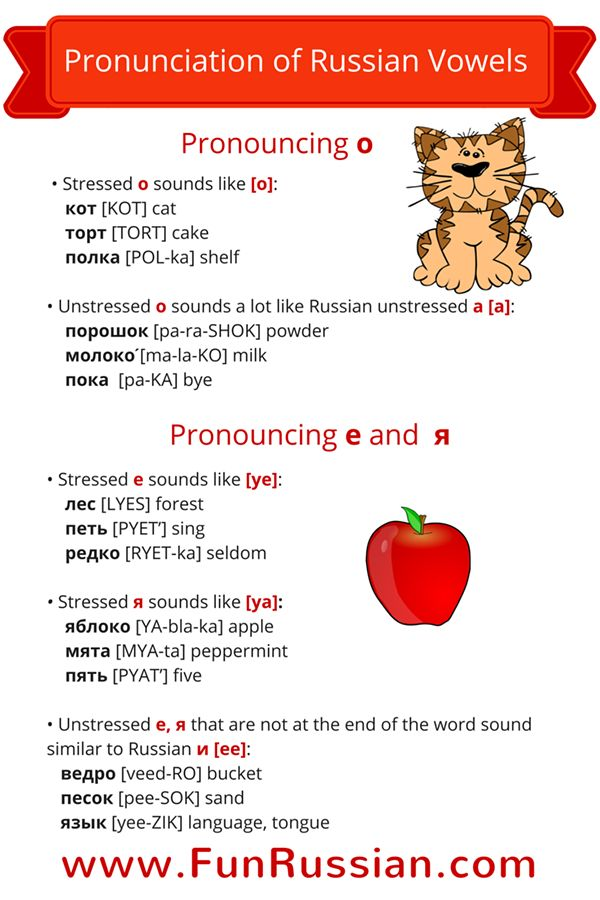"Russian lesson about the pronunciation of the Russian vowels - http://www.funrussian.com/2015/08/19/pronunciation-russian-vowels/   Find out why Russian ""o"" is pronounced as ""a"" in some instances, and much more! Enjoy! Feel free to share! ‪#‎funrussian‬ ‪#‎learnrussian‬ ‪#‎conversationalrussian‬"